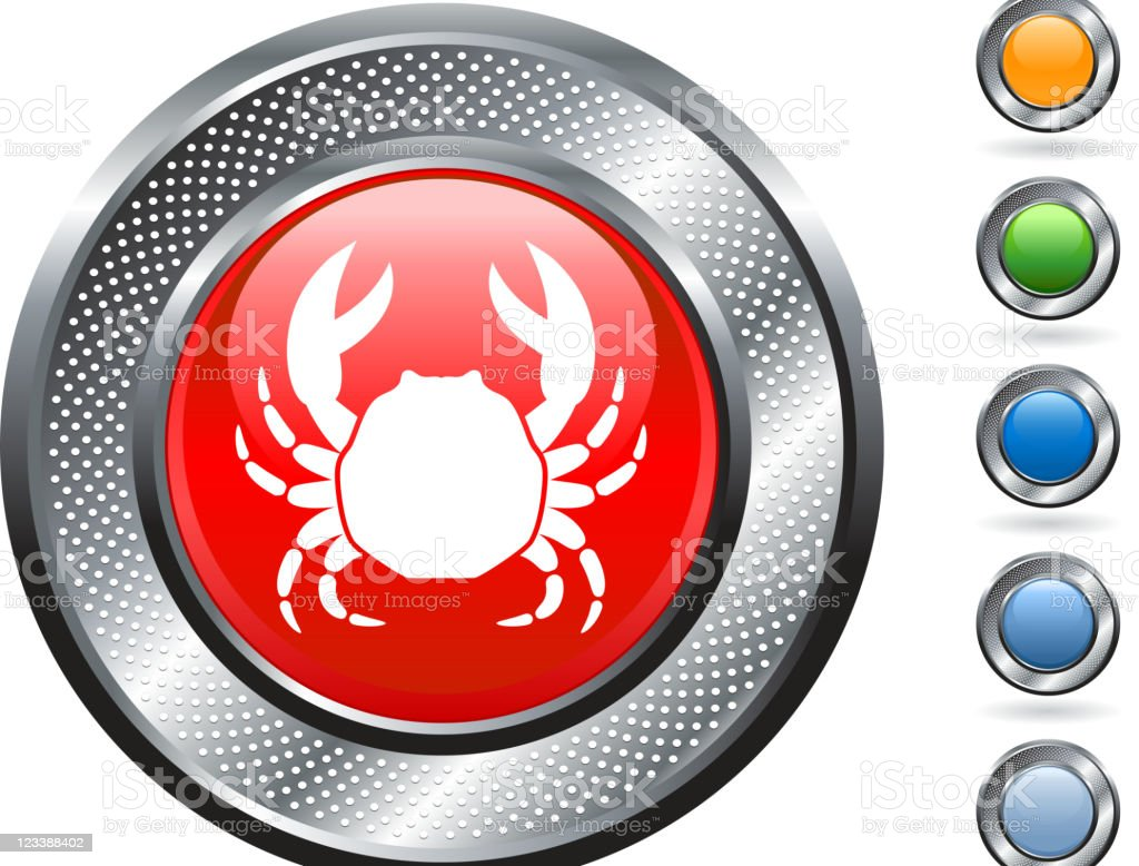 Sea Crab icon on button with metallic border vector art illustration