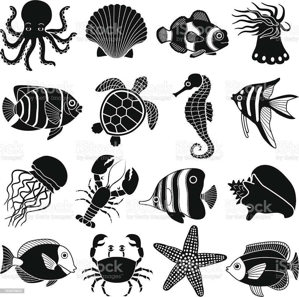 sea creatures icons vector art illustration