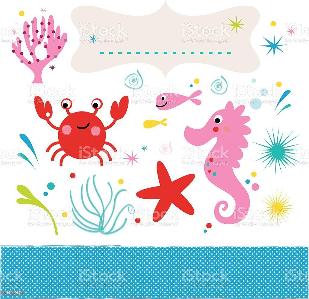Sea creatures underwater scene isolated on white vector art illustration