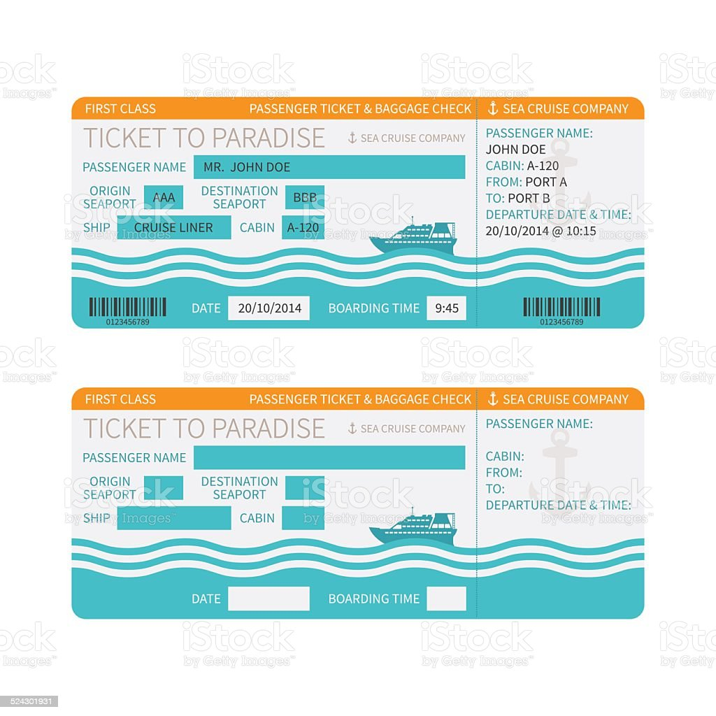 Sea cruise ship boarding pass or ticket template vector art illustration