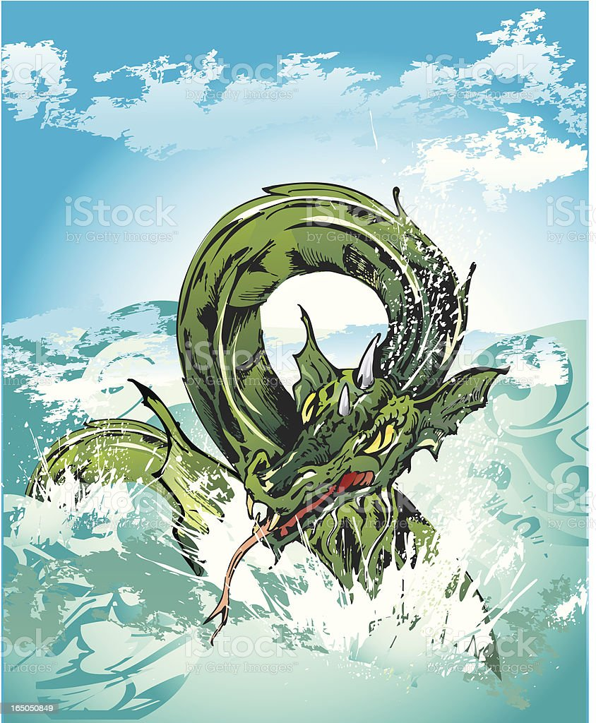 sea dragon vector art illustration
