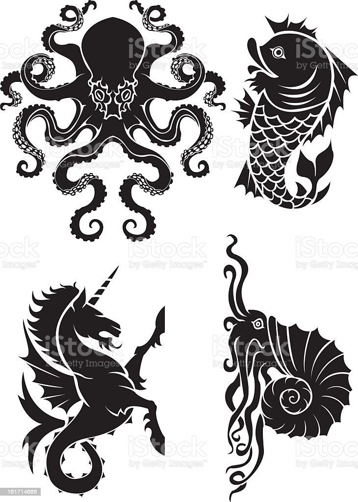 Sea element heraldry set royalty-free stock vector art