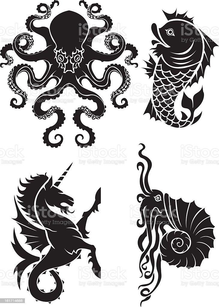 Sea element heraldry set vector art illustration