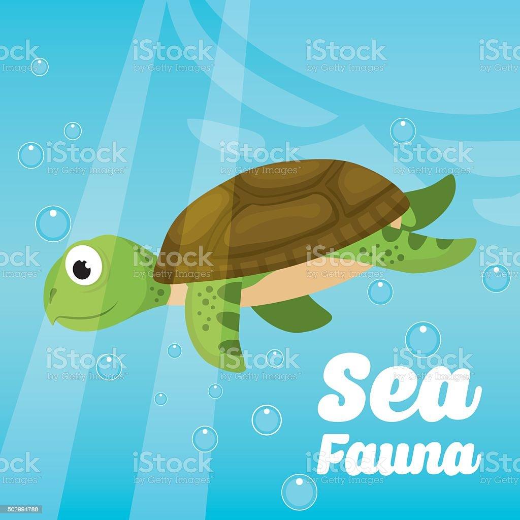 Sea fauna cartoon vector art illustration