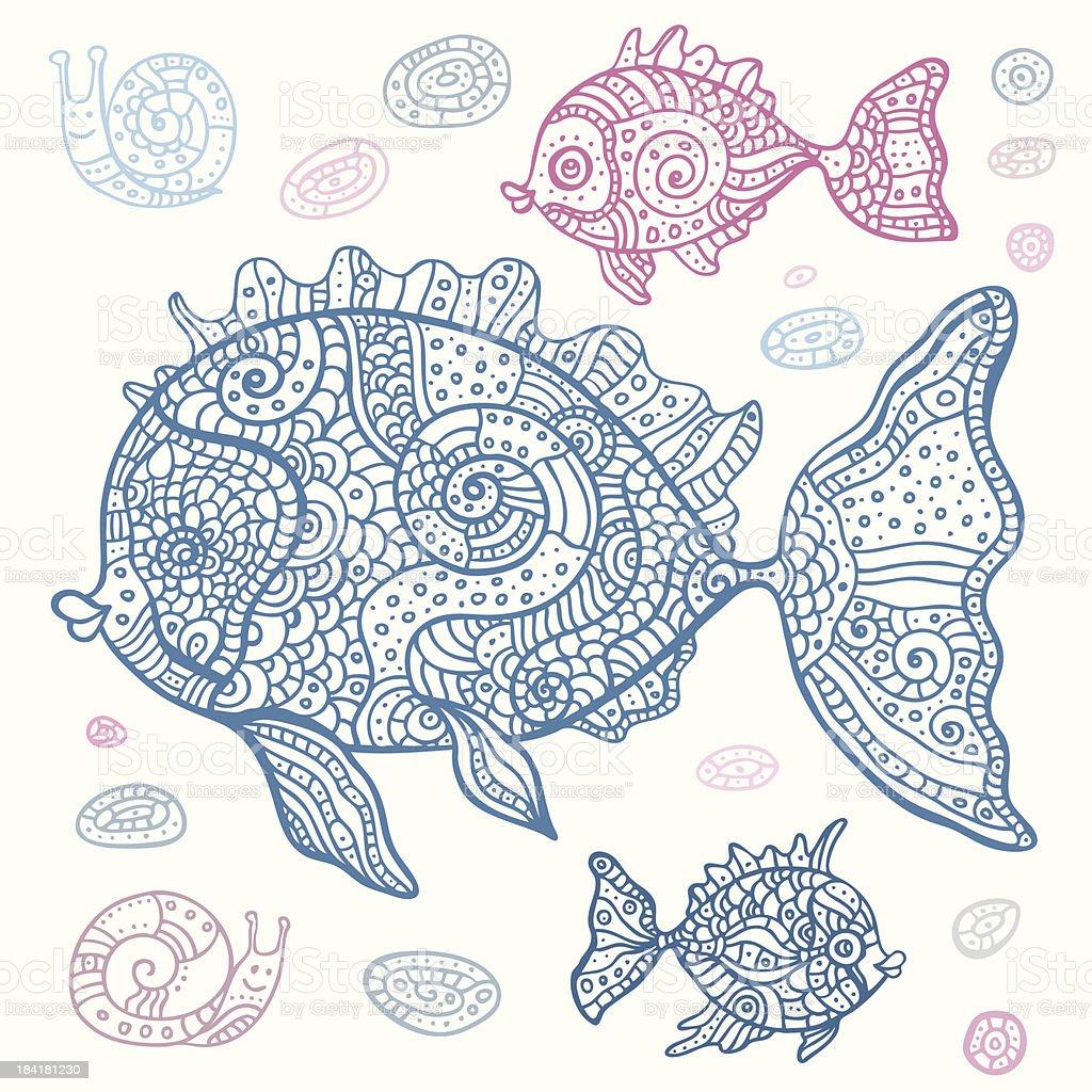 Sea Fish set. Hand drawn vector illustration. royalty-free stock vector art
