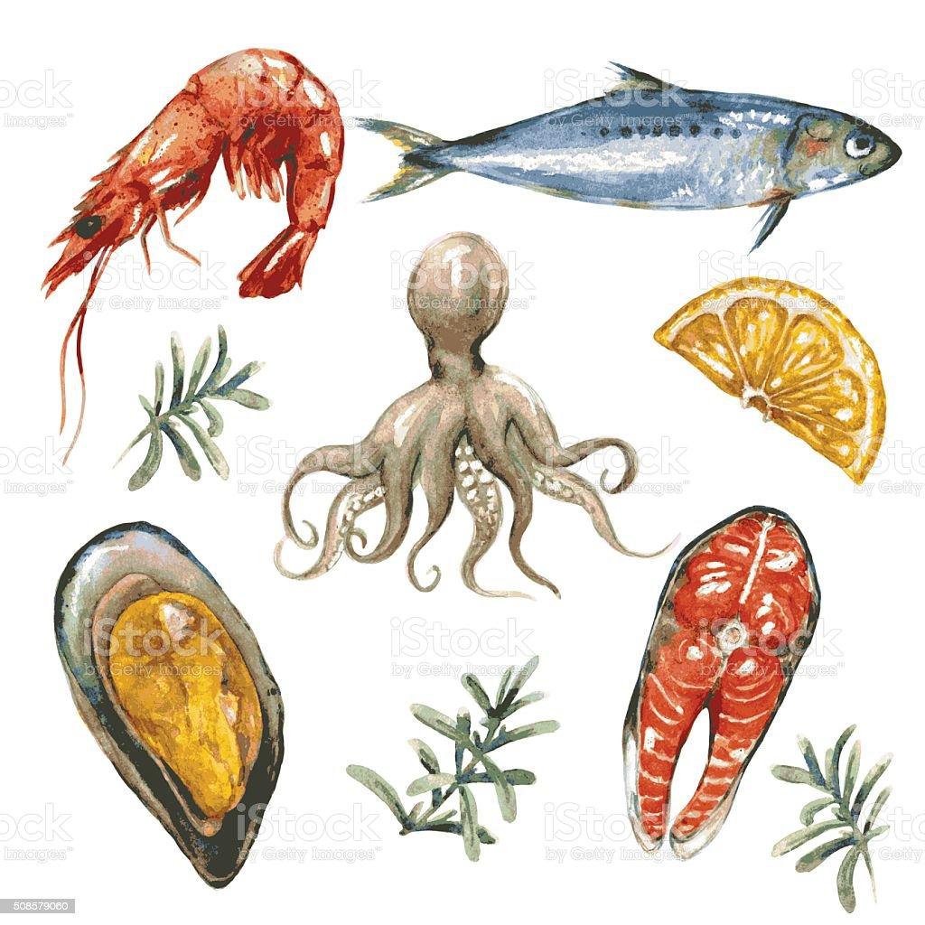 Sea Food Set vector art illustration