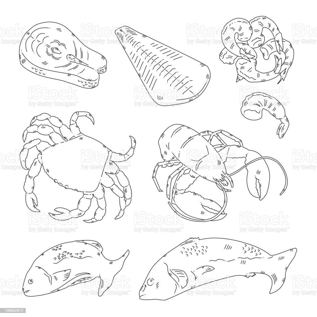 Sea Food vector art illustration