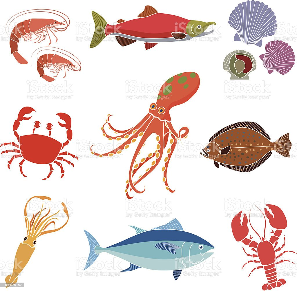 sea food vector art illustration