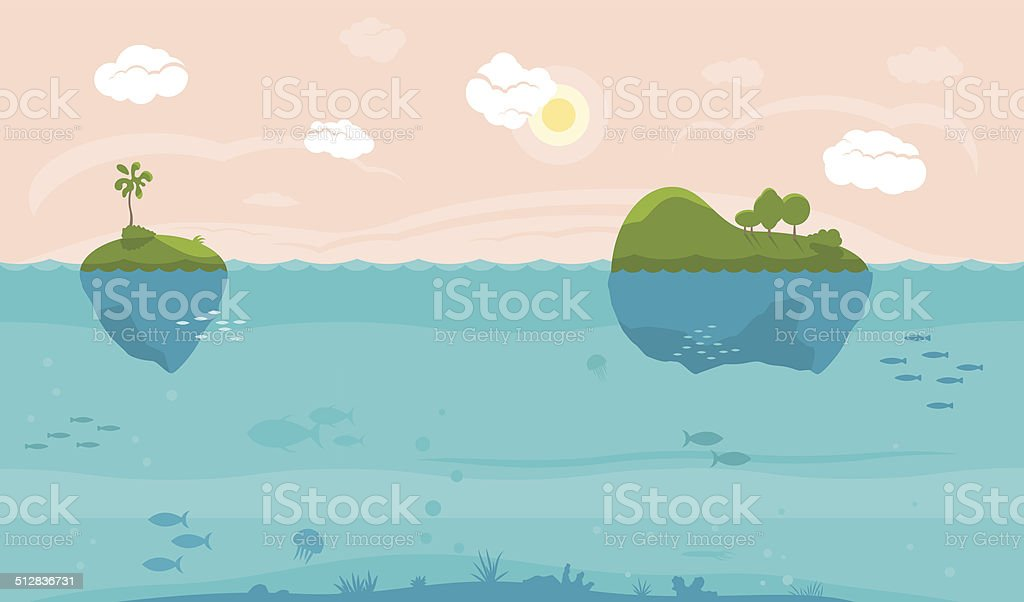 Sea game background vector art illustration