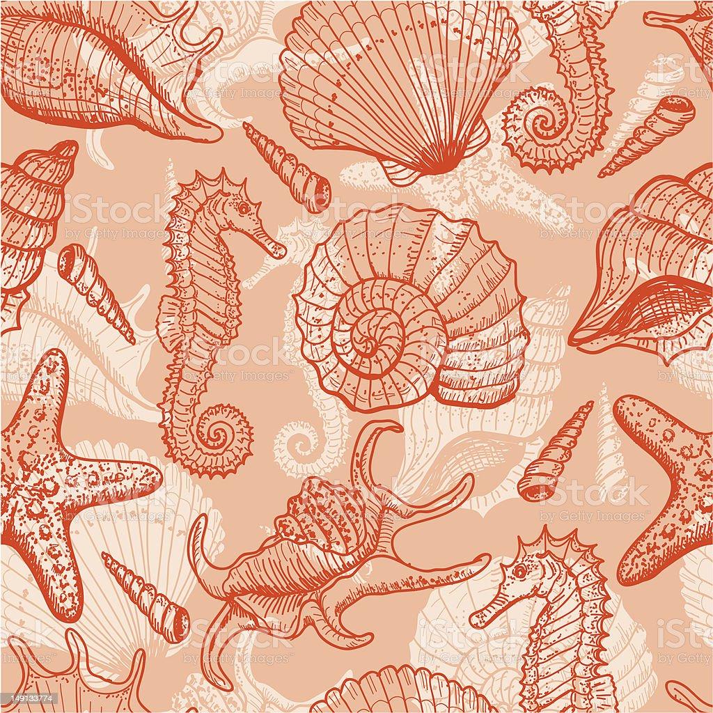 Sea hand drawn seamless pattern vector art illustration