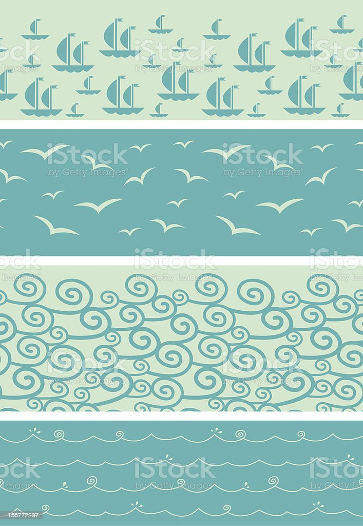 Sea Horizontal Seamless Patterns Ornaments Set royalty-free stock vector art