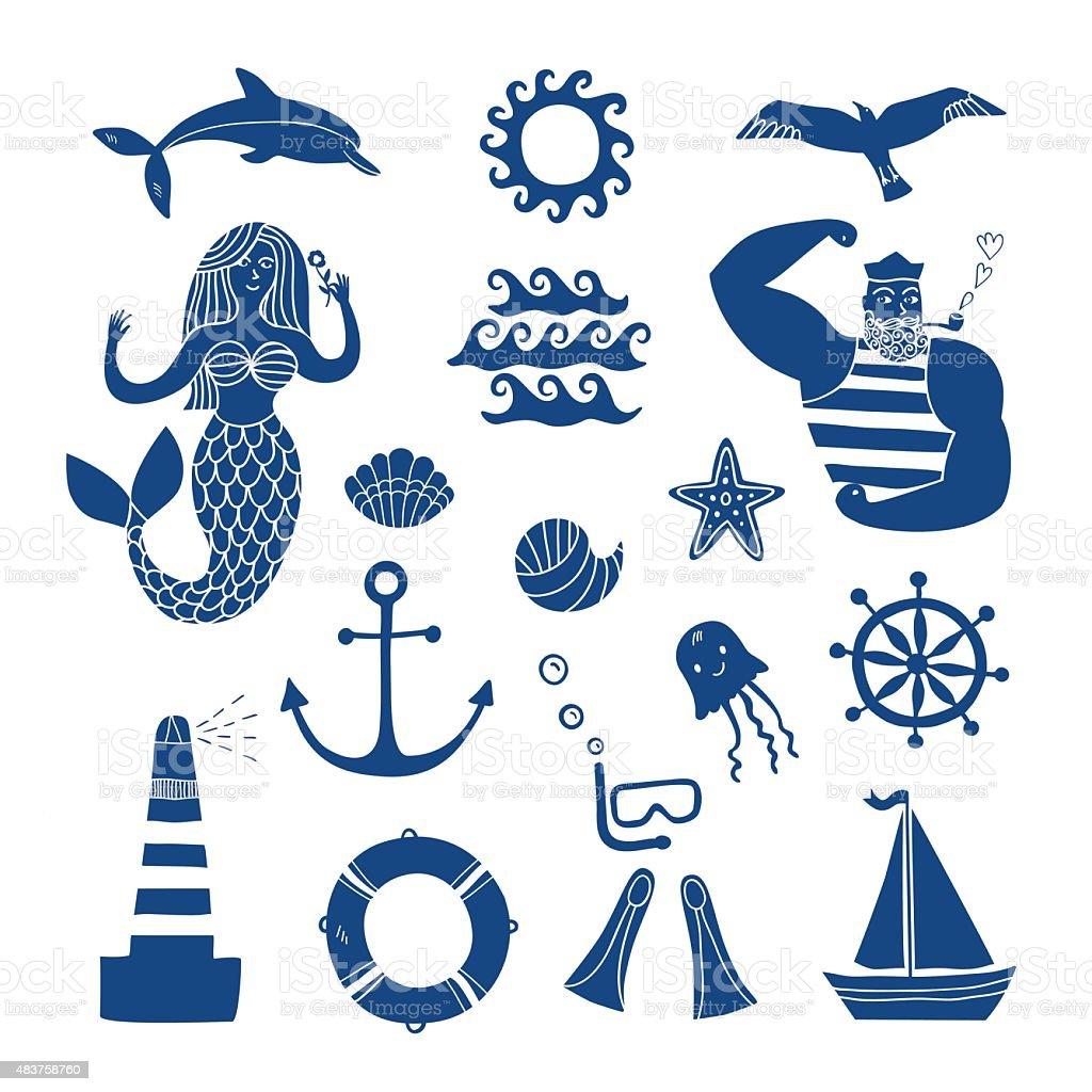 Sea icons cartoon set vector art illustration