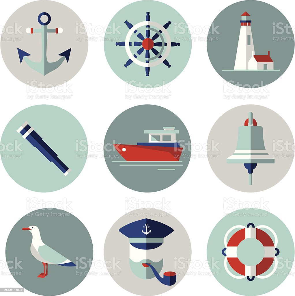 Sea icons in flat style vector art illustration