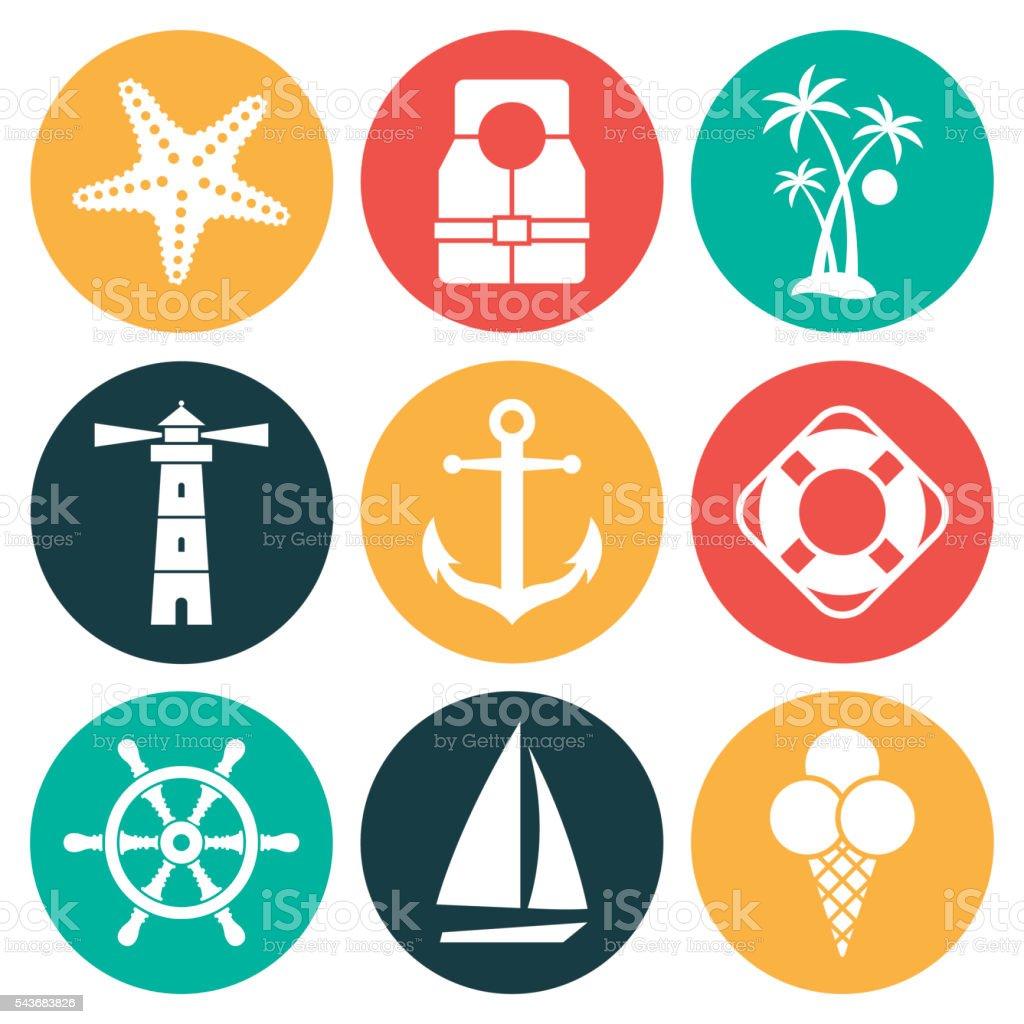 Sea icons vector art illustration