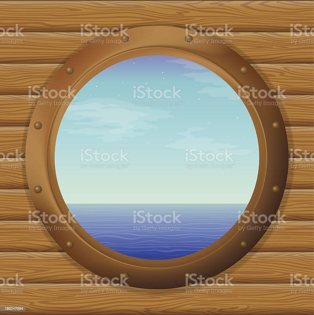 Sea in a ship window vector art illustration
