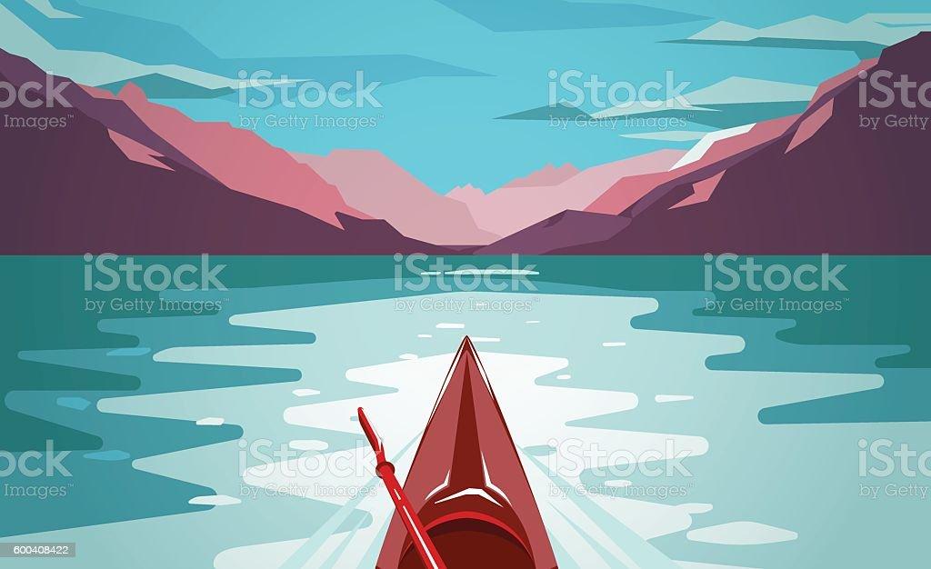 Sea kayaking at Norway fjord. Fun outdoor journey. vector art illustration