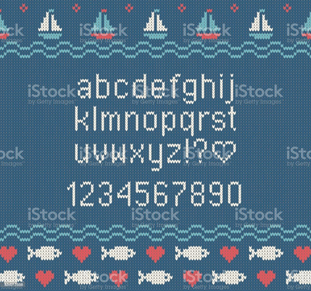 Sea knitted font. Knitted latin alphabet on sea theme patterns background. Woolen knitted texture. Nordic Fair Isle sweater design. Vector Illustration. vector art illustration