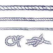 Sea Knot Rope Set Hand Draw Sketch. Vector