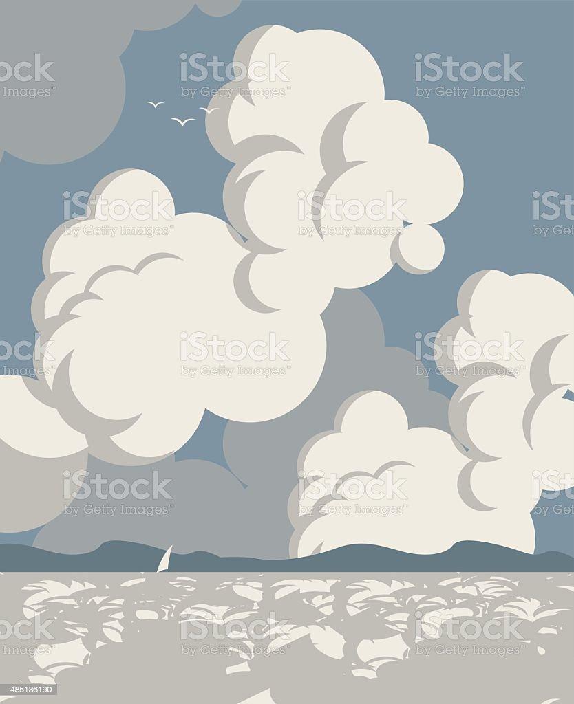 sea Landscape sky vector art illustration