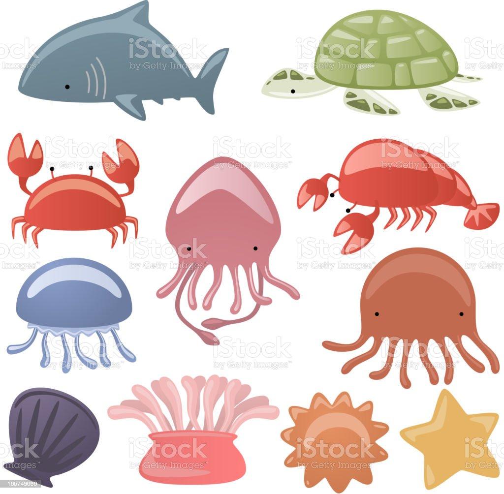Sea life Animals shark Turtle scrub octopus oyster dragonfly starfish vector art illustration