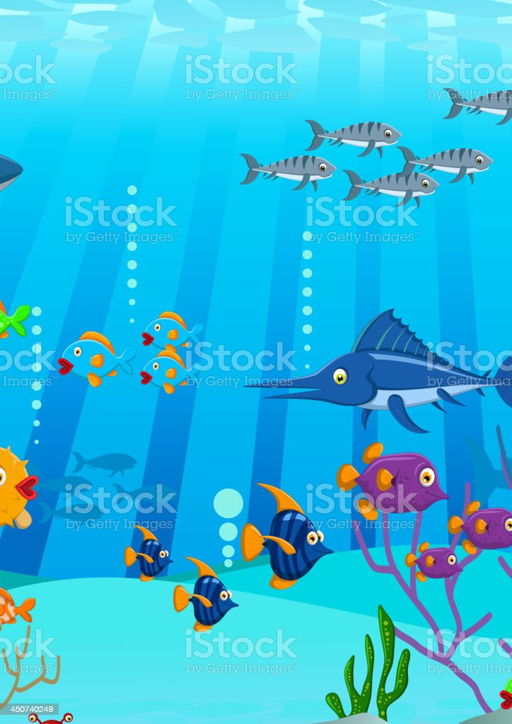 Sea life cartoon background vector art illustration