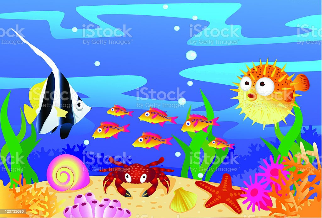 Sea life cartoon royalty-free stock vector art