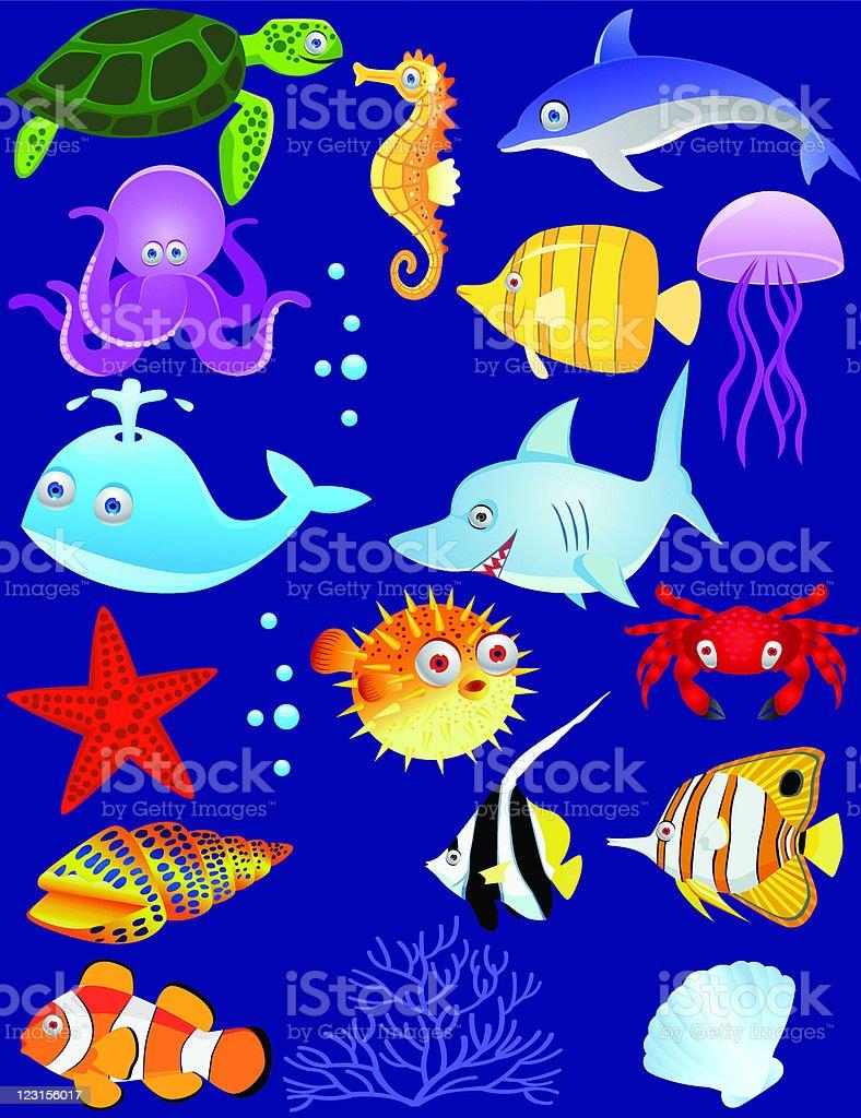 Sea life cartoon royalty-free stock vector art