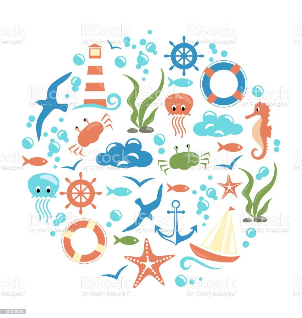 Sea life circle icon isolated on white vector art illustration