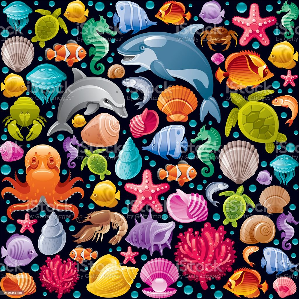 Sea life colorful icons vector art illustration