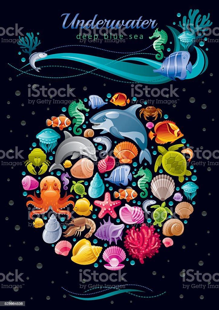 Sea life colorful poster vector art illustration