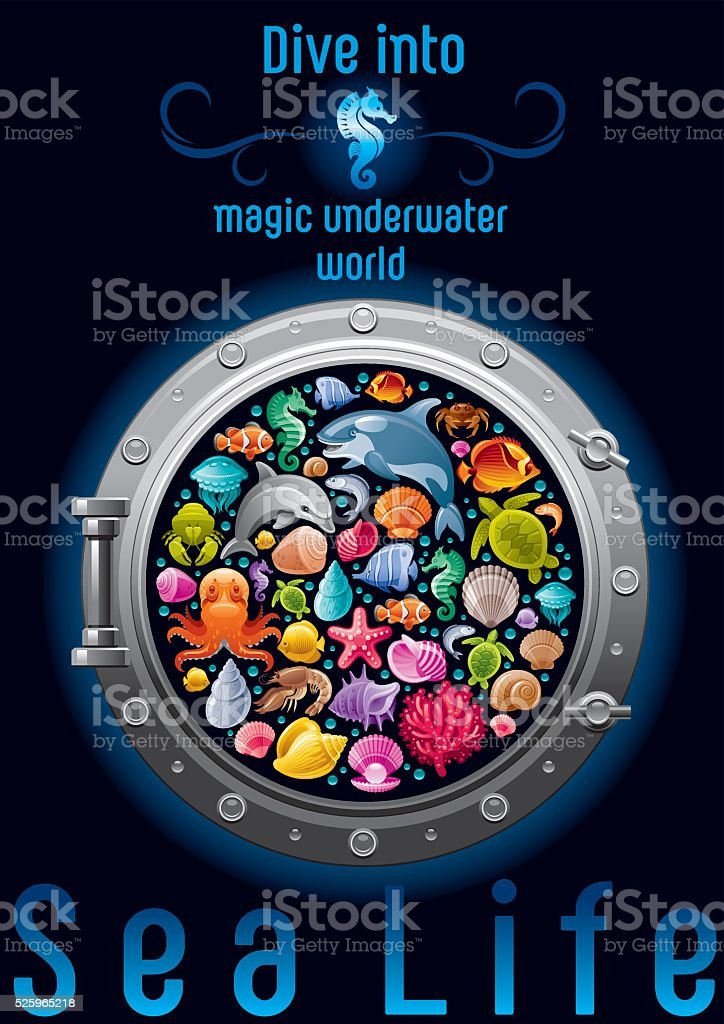 Sea life colorful poster vector art illustration