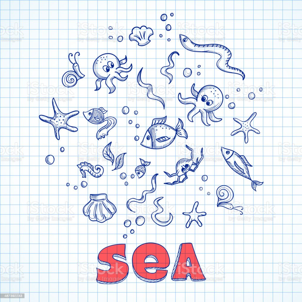 Sea life elements royalty-free stock vector art