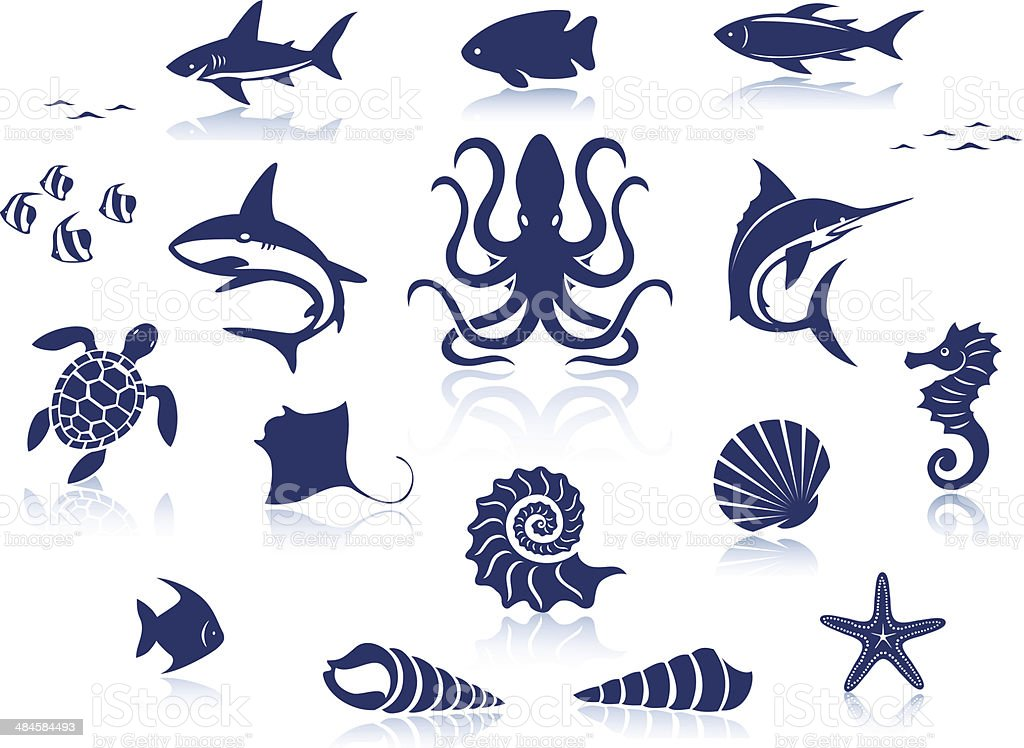 Sea Life Icon Set vector art illustration