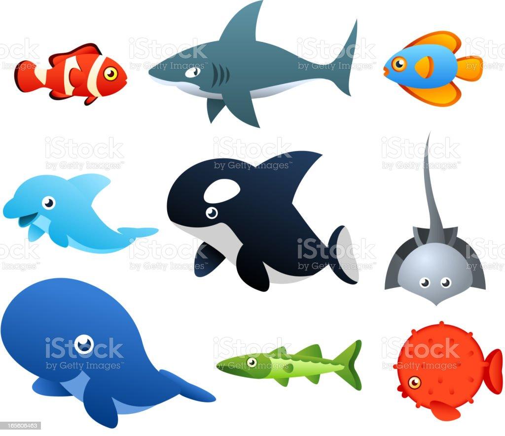 Sea Life icons vector art illustration
