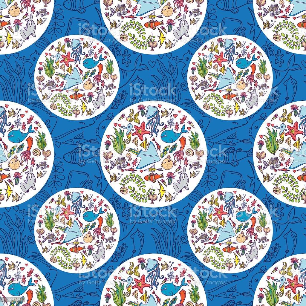 Sea life pattern background vector art illustration