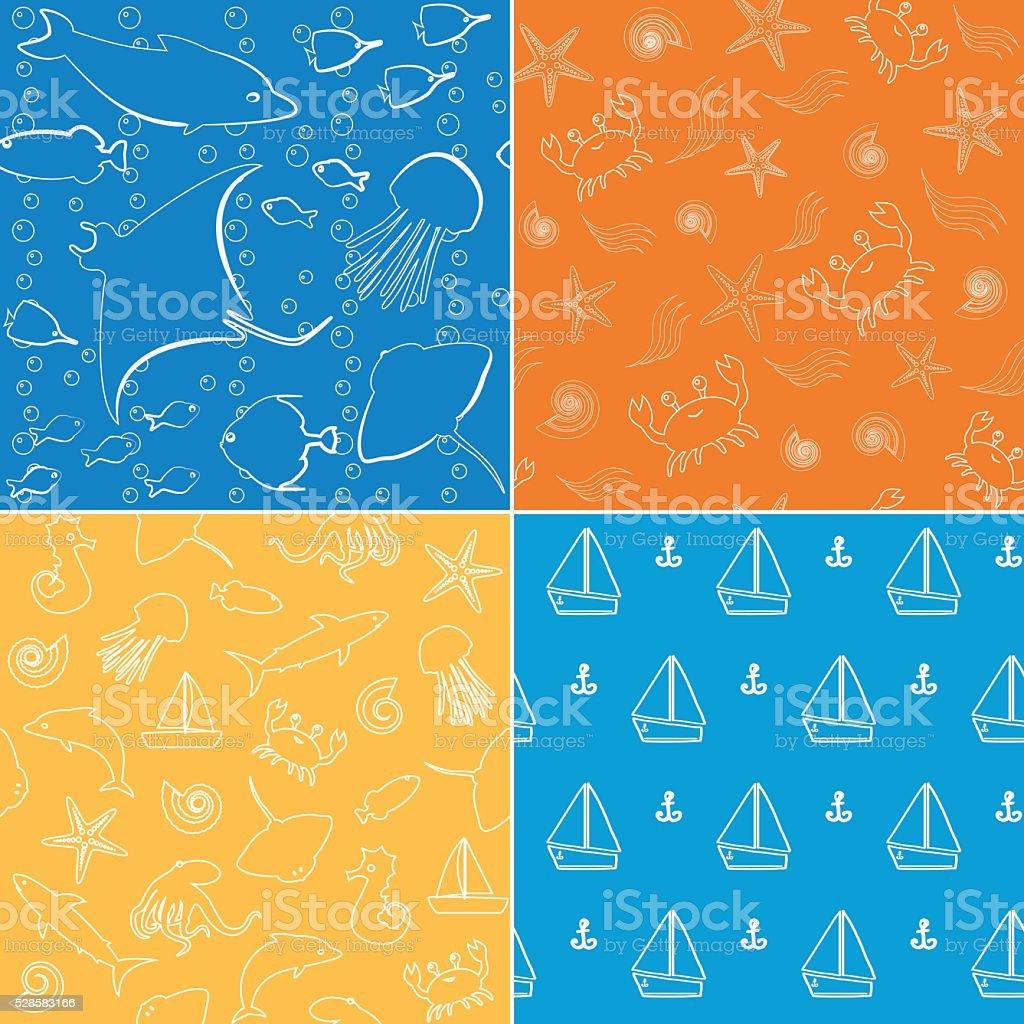 Sea life seamless patterns collection vector art illustration