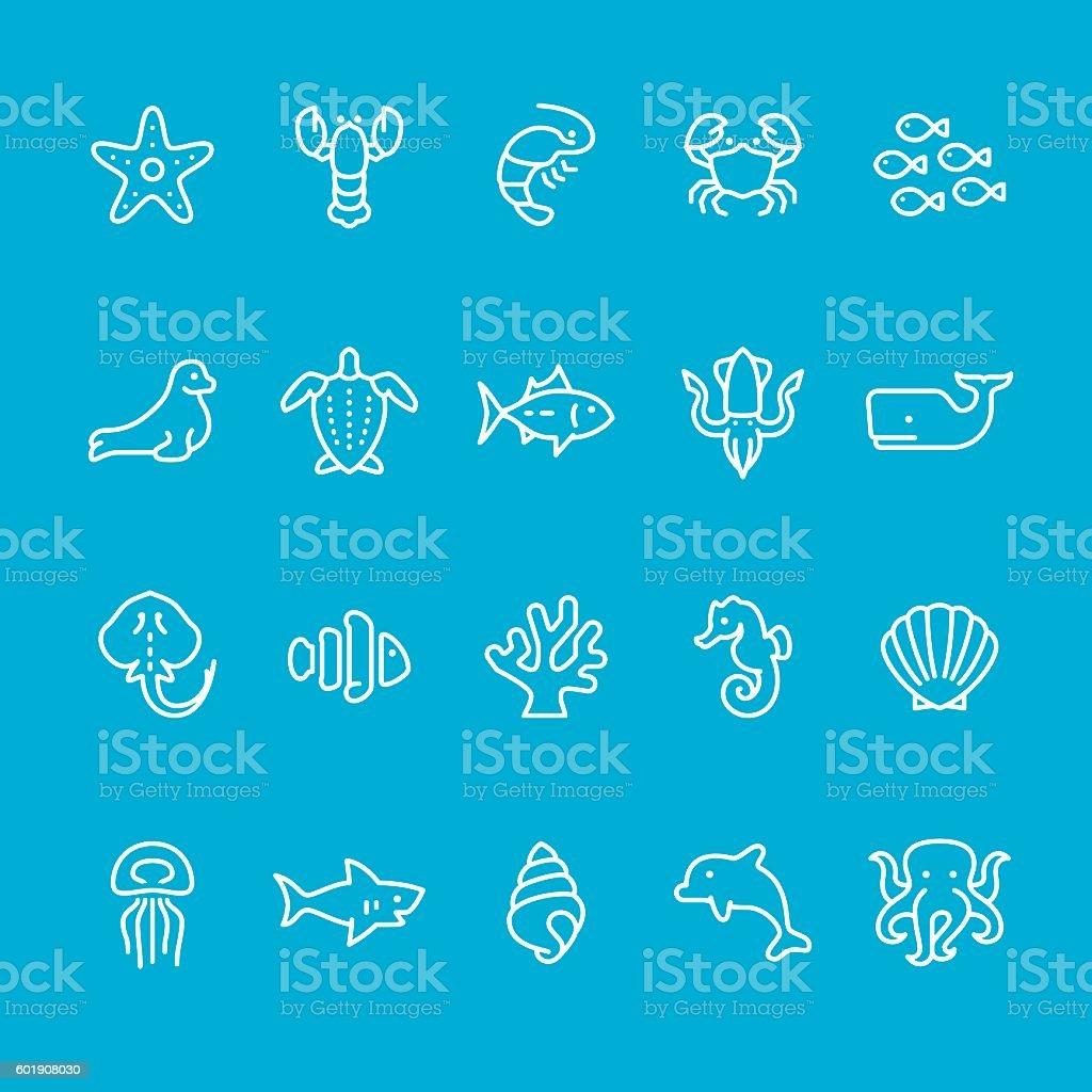 Sea Life theme icons vector art illustration