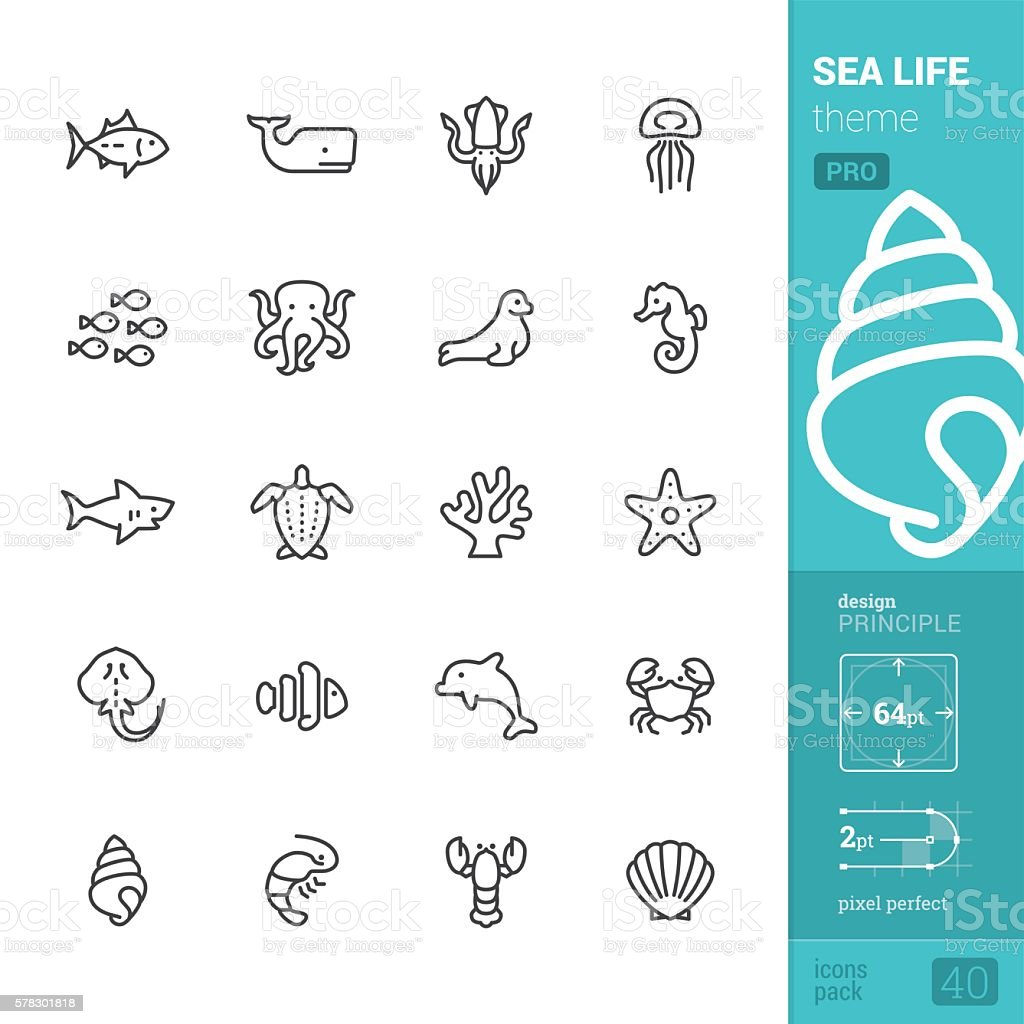 Sea Life theme, outline vector icons - PRO pack vector art illustration