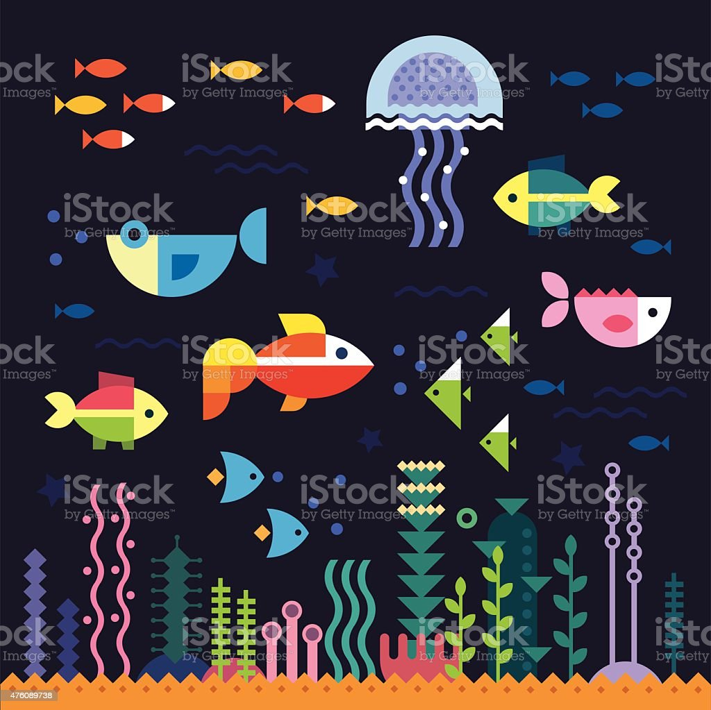 Sea life. Underwater world vector art illustration