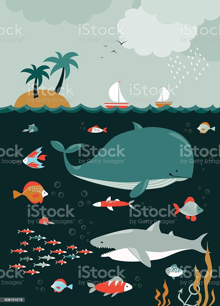 Sea life. Underwater world vector art illustration