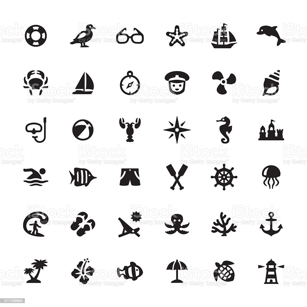 Sea Life vector symbols and icons vector art illustration