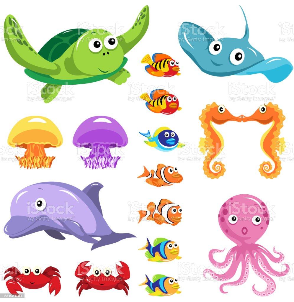 Sea Lifes Graphic Elements vector art illustration