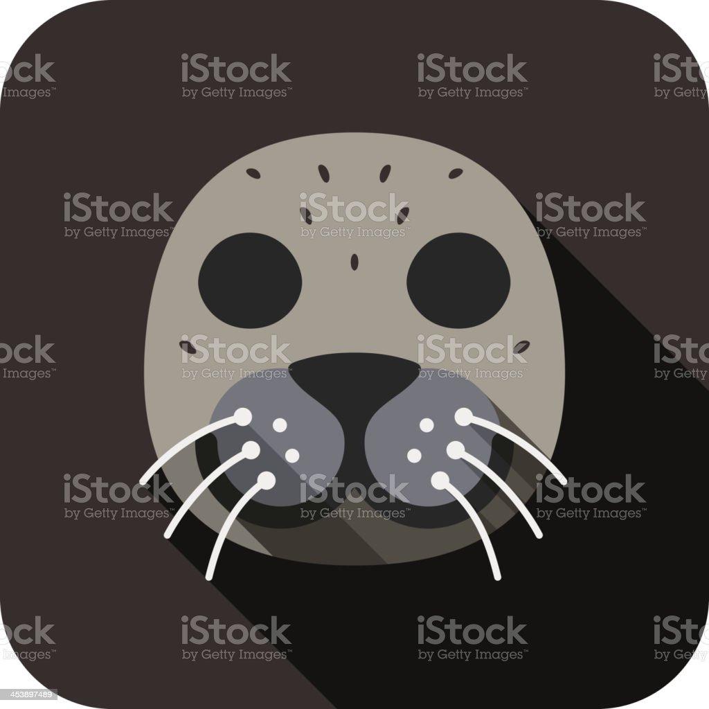 Sea lion animal face flat design vector art illustration