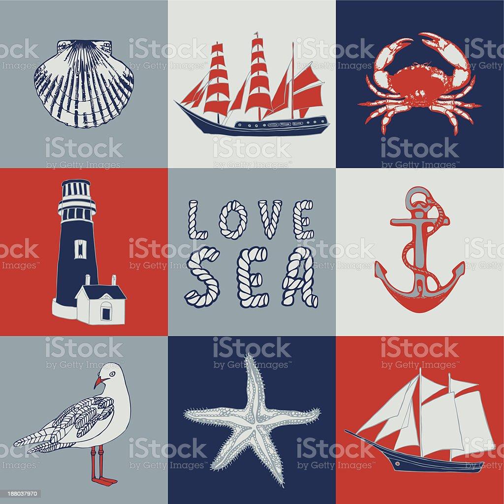 Sea love abstract. royalty-free stock vector art