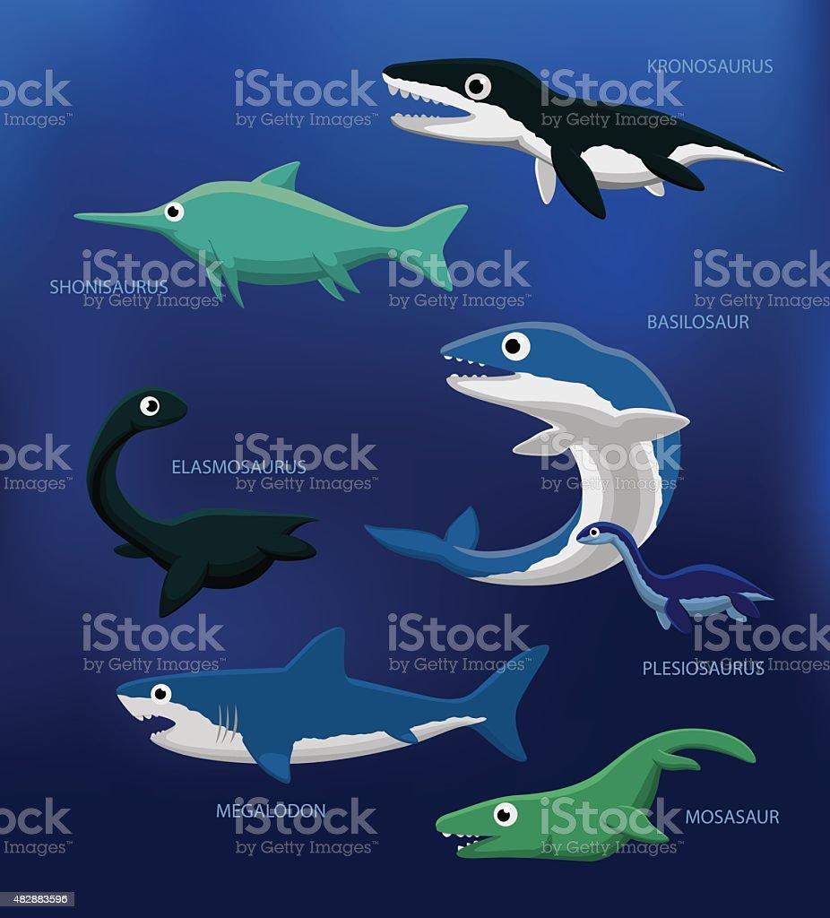 Sea Monsters Cartoon Vector Illustration vector art illustration