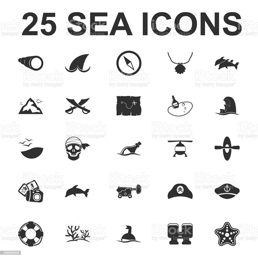 Sea, ocean, diving 25 black simple icons set for web vector art illustration