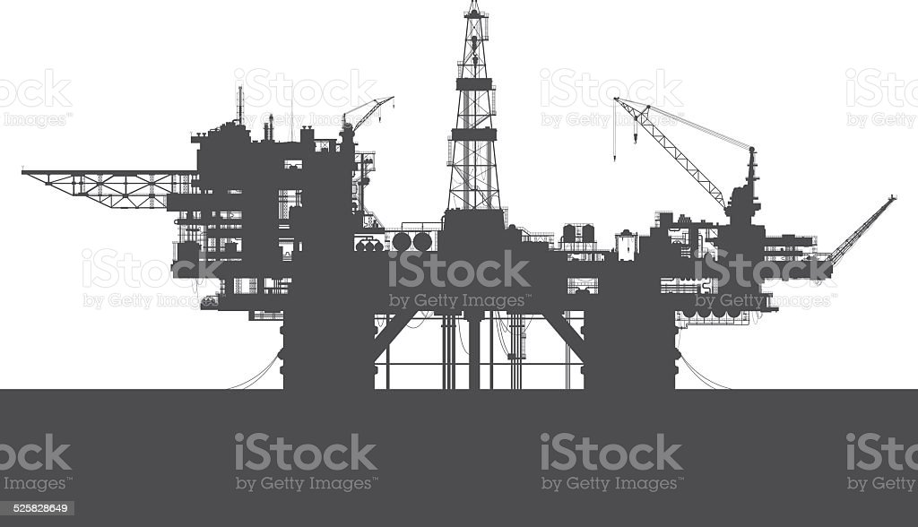Sea oil rig. Oil platform in the sea. vector art illustration