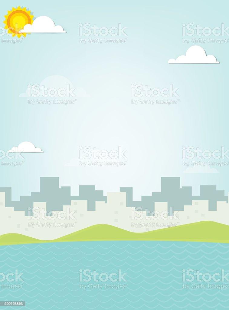 Mer sur fond de la silhouette de la ville stock vecteur libres de droits libre de droits