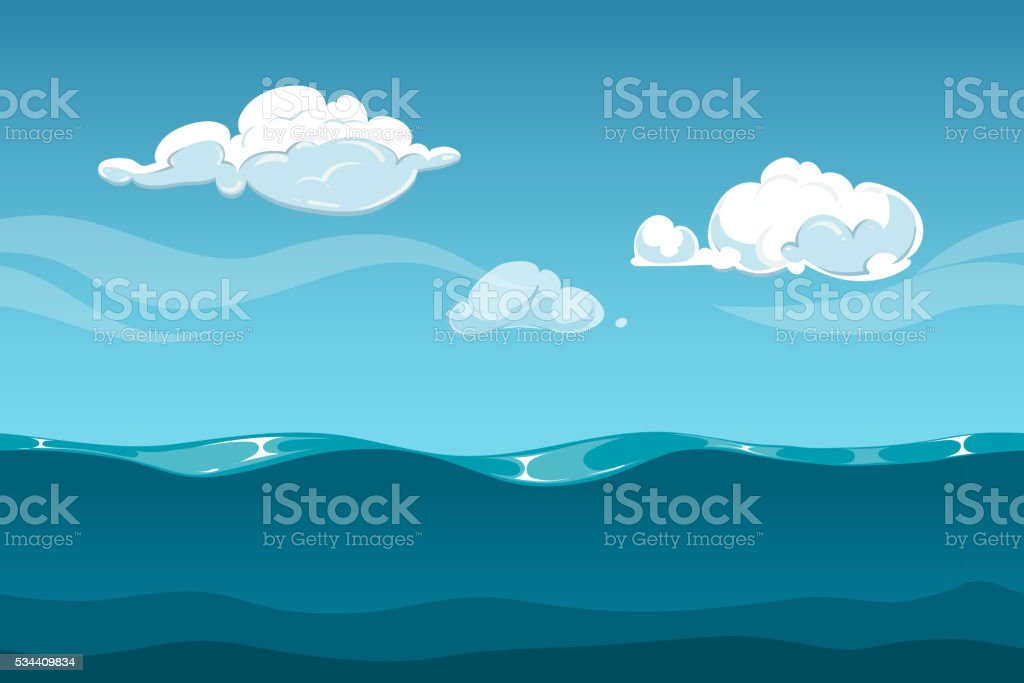 Sea or ocean cartoon landscape with sky and clouds. Seamless vector art illustration