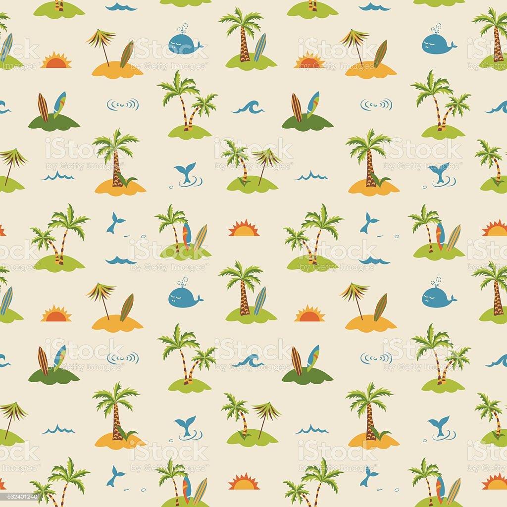 Sea + palm trees island + surfboards seamless pattern vector art illustration